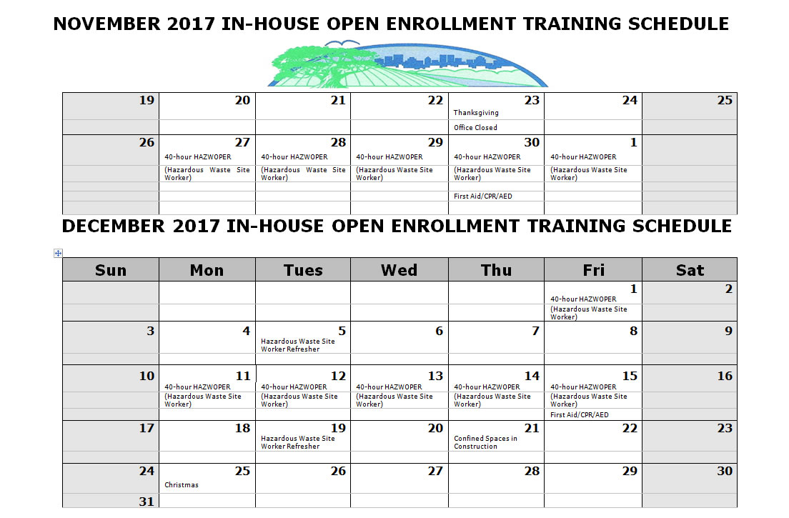 AAESI Open Enrollment Training Schedule