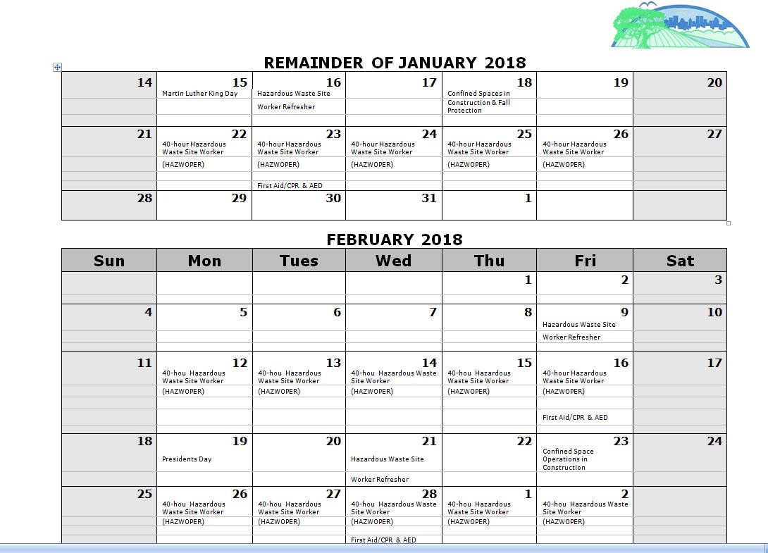 AAESI Training Calendar 2018